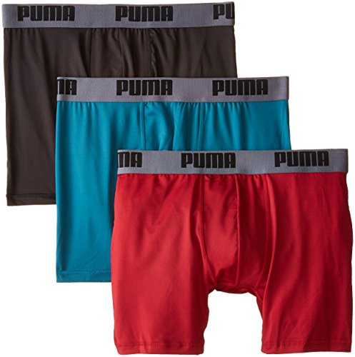PUMA Men's 3 Pack Boxer Brief,Red/Grey/Teal, Medium