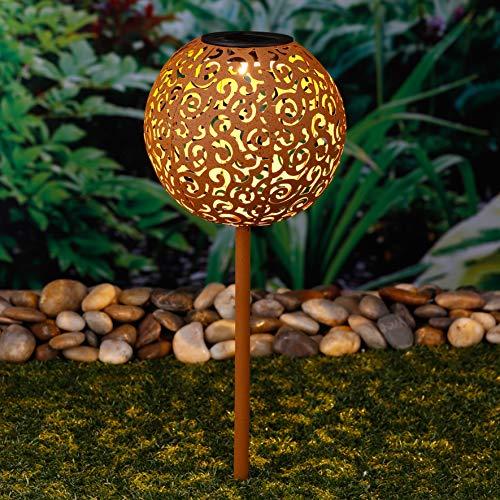Solarleuchte Solarlampe LED warmweiß Solar Rostoptik Gartenkugel Solarkugel Gartenleuchte Höhe 53 cm