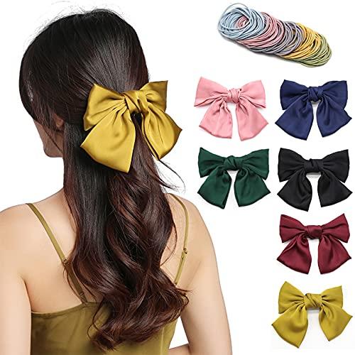 6 pinzas lazos pelo niña, Lre Co. pinzas para el pelo grandes grogrén boutique para mujeres, accesorios para lazos cabello...