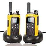 Rechargeable Walkie Talkies for Adults Long Range 5 Miles Two Way Radio with Rechargeable Battery for Camping Hiking Hunting Security Hotel Socotran T80 Yellow FRS Walkie Talkies