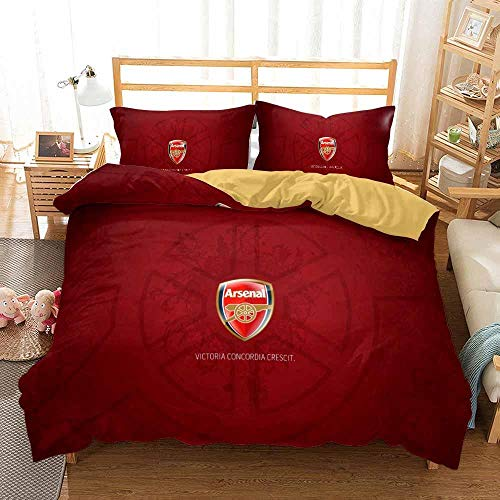 Duvet Cover Single Bed 135 x 200 cm Bedding set Microfiber 3 pieces with 2 Pillowcases 50 x 75 cm with Zipper Arsenal Football Club printing Duvet Cover set