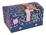 Depesche 11329 Schmuckkästchen mit Code und Sound, TOPModel Leo Love, mit lila Animal Print, ca. 15,7 x 20 x 12,5 cm groß, mit Spiegel und 6 Fächern