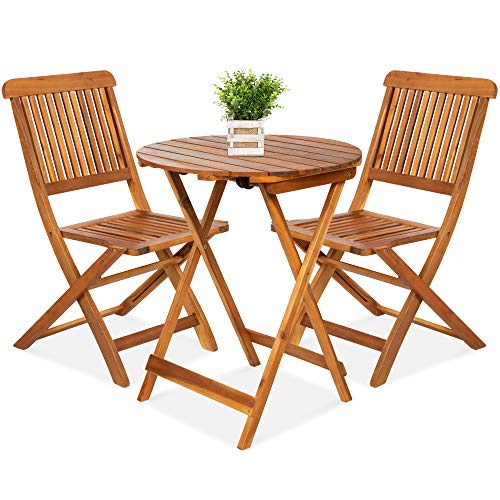 Best Choice Products 3-Piece Acacia Wood Bistro Set, Folding Patio Furniture for Backyard, Balcony, Deck w/ 2 Chairs, Round Coffee Table, Teak Finish - Natural