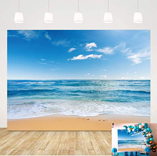 Summer Hawaii Sea Beach Photography Backdrops Blue Sky Ocean Photo Booth Wedding Party Decoration Background Birthday Banner Studio Props Cake Table Decoration 5x3ft Vinyl