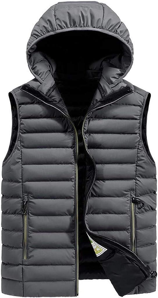 Vest Jacket for Men Autumn Winter Zipper Fashion Hoodie Waistcoat Vest Jacket Top Coat