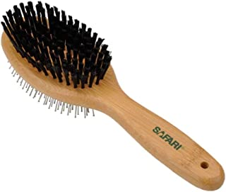 Safari Pin and Bristle Safari Pet Dual Purpose Pin and Bristle Combo Brush with Bamboo Handle, Medium - Lift Loose Hair an...