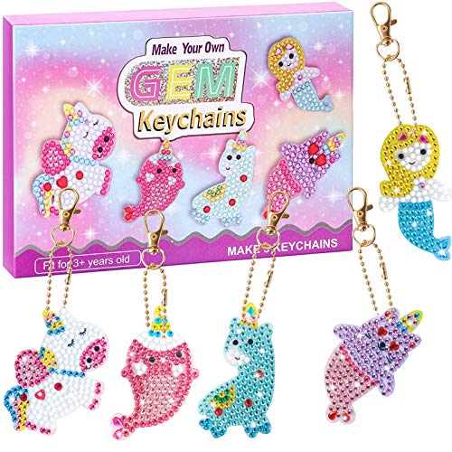 Nardoll Arts and Crafts for Kids Ages 8-12 - Create Your Own Gem Keychains by Number - 5D Diamond Painting Kits Creativity for Girls Boys Toddler Teens Ages 3-5 4-6 6-8 10-12
