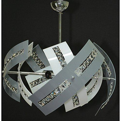 Lampadario a Sospensione 4LUCI LED E27 Stile Moderno in Cristallo e Plexiglass VARI COLORI - SHAPE MADE IN ITALY - per Soggiorno Salone Camera da letto