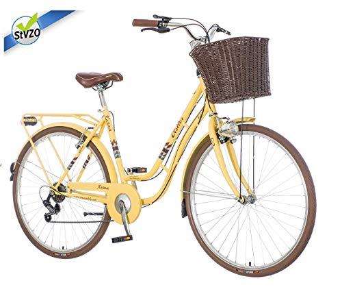 breluxx® 28 Zoll Damenfahrrad Venera Fashion Karma Creme Citybike mit Korb + Licht, Retro Bike, 6 Gang Shimano, Modell 2020