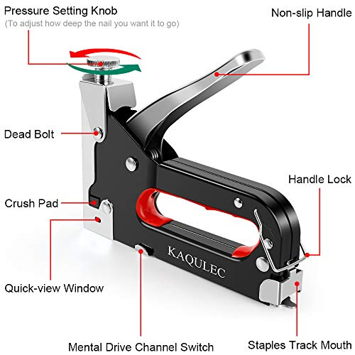 Staple Gun, 3 in 1 Staple Gun Kit with 3000 Staples and Stapler Remover Adjustable Heavy Duty Stapler for Wood Upholstery Crafts Cable Fixing Material Furniture Decoration Photo #3