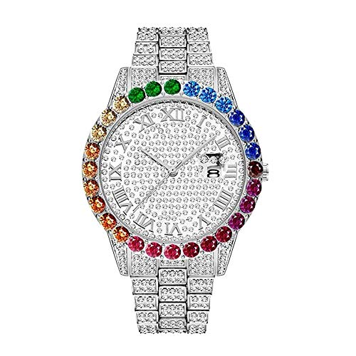 Mens Fashion Luxury Bling-ed Out Colorful Colorful Diamond Watches Iced Out 44mm Big Face Round Bling Diamond Quarartz Diamond Orologio da polso