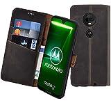 Suncase Book-Style kompatibel mit Motorola Moto G7 Hülle (Slim-Fit) Leder Tasche Handytasche Schutzhülle Hülle (mit Standfunktion & Kartenfach - Bruchfester Innenschale) in antik braun