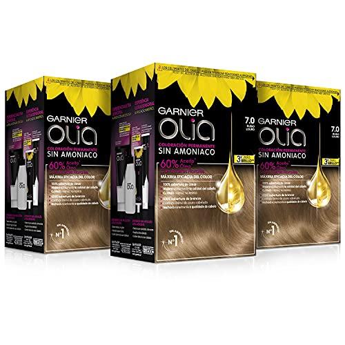 Garnier Olia - Pack de 3 coloración permanente sin amoniaco para un olor agradable con aceites florales de origen natural, color tono 7.0 rubio