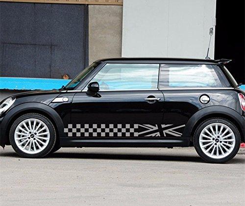 Modifycar Seitenaufkleber für Mini Cooper, grau, Union Jack, Countryman One S R50 R53 R56 R57 F56