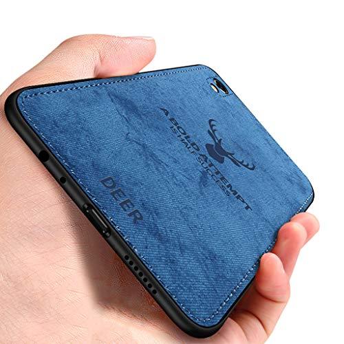 EUDTH Oppo R9 Plus Hülle, Ultradünne Hybrid Handyhülle [Hirsch Muster] Stoff Hülle Weiche Stoßfeste TPU Bumper Case Schutzhülle für Oppo R9 Plus - Blau