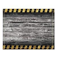 Assanu 灰色の木製の背景に黒と黄色の警告ストライプバスラグ滑り止め床の出入り口屋外屋内正面玄関マット、60x40cmバスマット