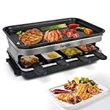 Raclette Grills Indoor Raclette Machine, Grill for 8 with Non-Stick Coating Plate, 8