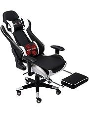Nokaxus Gaming Stoel Grote Size High-back Ergonomische Racing Seat met Massager Lumbale Ondersteuning en intrekbare Voetsteun PU Leer 90-180 graden aanpassing van rugleuning Verdikking sponzen (Yk-6008-wit)