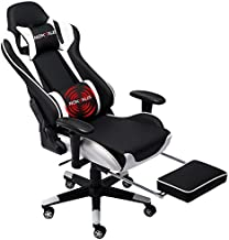 Nokaxus Gaming Chair Large Size High-back Ergonomic Racing Seat with Massager Lumbar Support and Retractible Footrest PU Leather 90-180 degree adjustment of backrest Thickening sponges (YK-6008-WHITE)