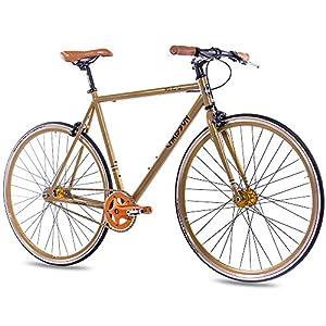 CHRISSON 28 Zoll Vintage Fixie Singlespeed Retro Fahrrad FG Flat 1.0 Gold - Urban Old School Fixed Gear Bike für Damen und Herren