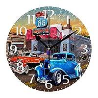 10インチの丸い壁時計、壁の装飾昔ながらのカントリーガソリンスタンドサイレント非カチカチ時計、バッテリー式の読みやすいリビングルームの時計ホームオフィスColor4