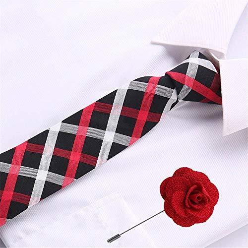 VGYUAS Krawatten 6.5Cm Baumwolle Mens Plaid Tie Krawatte & Brosche Set Krawatten Für Hochzeitsfest