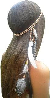 Feather Headband Hippie Indian Boho Hair Hoops Tassel Bohemian Headdress Headwear Headpiece Women Girls Kids Crown Hairband Hair Bands Party Decoration Cosplay Costume Handmade Hair Accessories Khaki