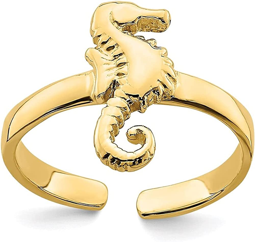 Diamond2Deal 14k Yellow Gold Adjustable Seahorse Toe Ring for Women