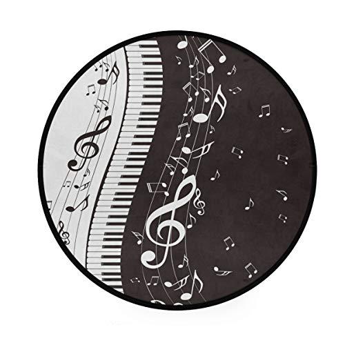 BIGJOKE Runde Teppiche für Klavier-Noten, rutschfeste runde Matte, Spielteppich, für den Innenbereich für Kinder, Babys, Wohnzimmer, Schlafzimmer, Flur, Heimdekoration, Durchmesser 91,4 cm