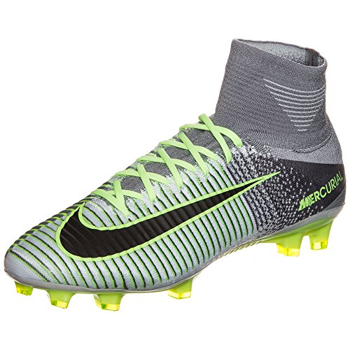 Nike Mercurial Superfly V FG, Scarpe da Calcio Uomo, Plateado (Pure Platinum/Black-Ghost Green), 44 1/2 EU