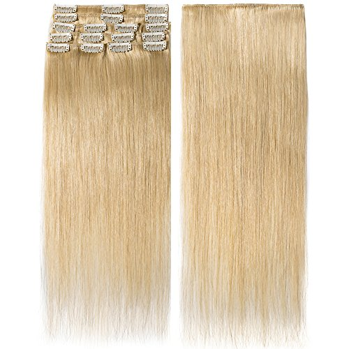 Clip In Extensions Echthaar Natürlich Blond 100% Remy Echthaar Haarverlängerung 8 Tressen (40cm-65g)