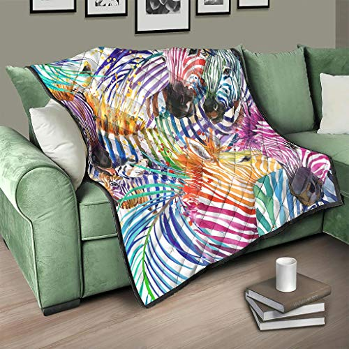 Flowerhome Manta para sofá o cama, diseño de cebra, para adultos y niños, color blanco, 130 x 150 cm