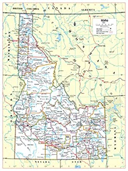 Cool Owl Maps Idaho State Wall Map Poster Rolled 24 Wx32 H  Laminated