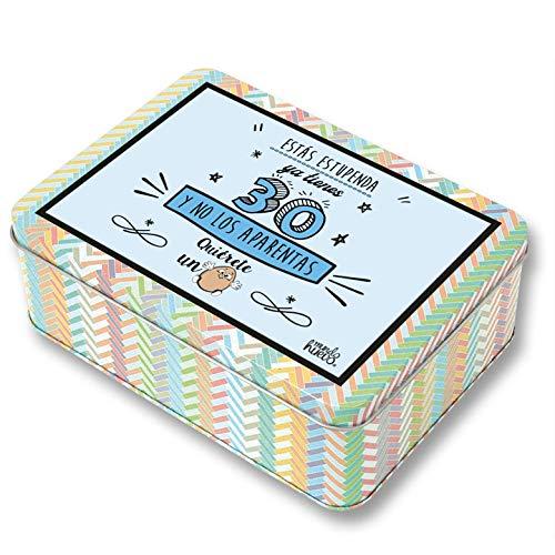 Regalo Mujer 30 años. Pack Caja metálica 18x13x6 cm, Bolsa 35x40 cm, Pulsera, libreta A-6 y boli. Ya Tienes 30 y no los aparentas