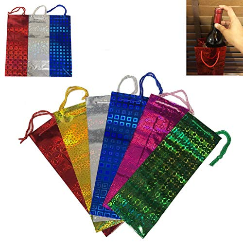 SHATCHI Xmas Wrap Bulk Buy Wholesale 50 Assorted Holographic Gift Bags for Wine Bottle Christmas Present, Multi