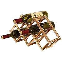 afdg portabottiglie vino pieghevole in legno, portabottiglie da cucina, espositore per vino, portabottiglie diamond per bar, cantina, armadietto, dispensa (6 bottiglie)