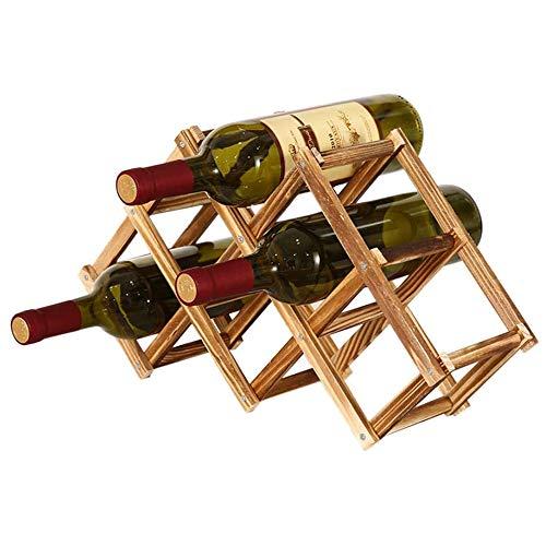Soporte para Botellero de Madera Plegable, Organizador de Almacenamiento de Vino, Almacenamiento de Botelleros para Exhibición de Vinos, Barra de Bar, Cerveza, Cocina Casera (6 Botellas)