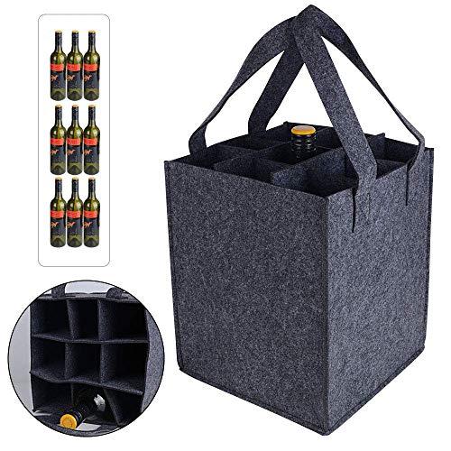 Bottle-Bag, Tragetasche mit Trennwände, Weinflasche Geschenk Tasche, Flaschentasche Flaschenträger Bierträger Filztasche für 9Flaschen perfekt für Party Reise Party (32 x 24 x 20cm)
