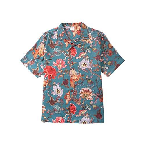 Camisa de Manga Corta Informal de Estilo Rural para Hombre Tendencia de Primavera Personalidad Impresión Retro Solapa de Moda Blusa Suelta y cómoda de Todo fósforo S