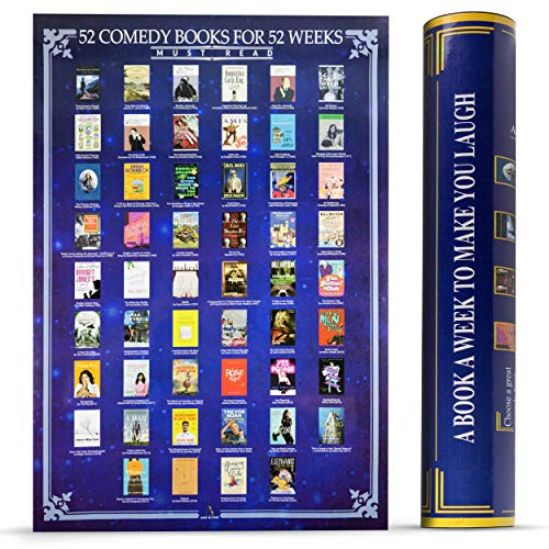 Scratch Off Books Poster - 52 Must Read Comedy Books All Time Bucket List Large 16.5 x 23.4 inches - Wall Decor & Entertainment Piece - Premium Quality & Print - All-Time Favorite Book Poster