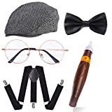 Beelittle Old Man Costume 100 Days of School for Kids Boys 1920s Gatsby Gangster Costume Accessories (Style 2)