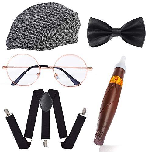 Haichen 1920s Hombre Gatsby Gangster Disfraz Accesorios Set - Gatsby Newsboy Beret Sombrero Tirantes Pre Atado Pajarita Gafas Juguete Cigarro Falso (Raya Negra y Blanca)