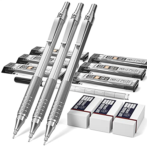 Nicpro 0.5 mm Mechanical Pencils Set with Case, 3 Metal Artist Pencil With 6 Tubes HB Pencil Leads And 3 Erasers For Architect Art Writing Drafting, Drawing, Engineering, Sketching, Silver