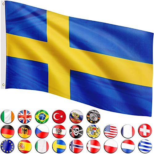 Flagmaster Bandera 120x80 cm, 24 Banderas Diferentes para Elegir, Ojales metálicos para sujeción, Bandera Suecia