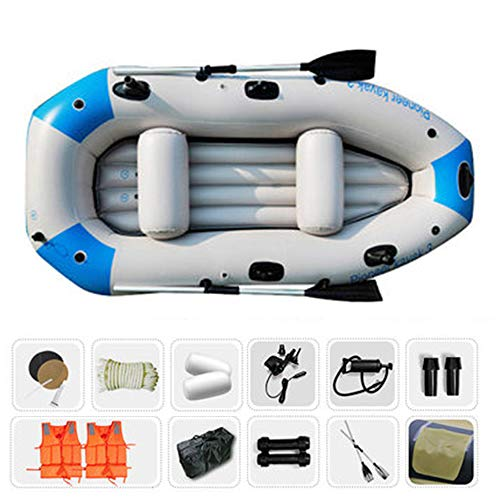 Kimmyer Ausflug 3, 3-Personen-Schlauchboot-Set mit 11 Arten Großes Geschenkpaket, Schlauchboot-Rafting und Fischerboot mit Rutenhalter, zum Angeln oder Cruisen