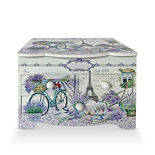 Joyero Cajón para Joyas, Cofre de almacenamiento de Collares, anillo, y pendientes, organizador de diseños juveniles, ideal para regalo con espejo (BICICLETA JULI)