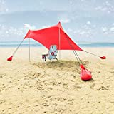 Lovebay Tienda Para la Playa Portable Camping Sun Shelter Sombrilla Poly, ligero 100% Lycra SunShelter con impermeable UV Protection 210 x 210 CM para Camping, Senderismo, Pesca, Playa, Picnic (Rojo)
