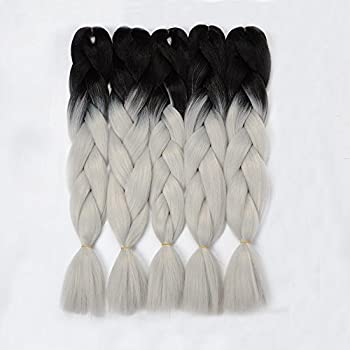 VCKOVCKO Ombre Braiding Hair Kanekalon Jumbo Braid Two Tone Ombre Color Hair Extension For Braiding Kanekalon Jumbo Box Braiding Hair 24 ,5 Bundles/Lot,Black-Light gray