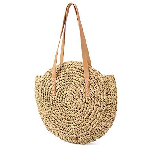 CHIC DIARY Strohtasche Damen Crossbody Tasche Retro Runde Strandtasche Shopper Korbtasche Groß Schultertasche Einkaufstasche