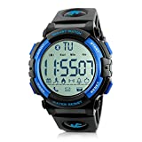 Beeasy Mens Digital Sport Watch with Pedometer 49mm Big Number Military Watches Waterproof with Stopwatch Backlit Blue